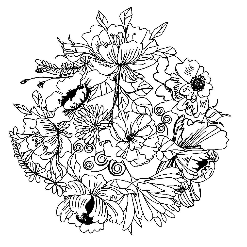 Раскраска мандала луговые цветы