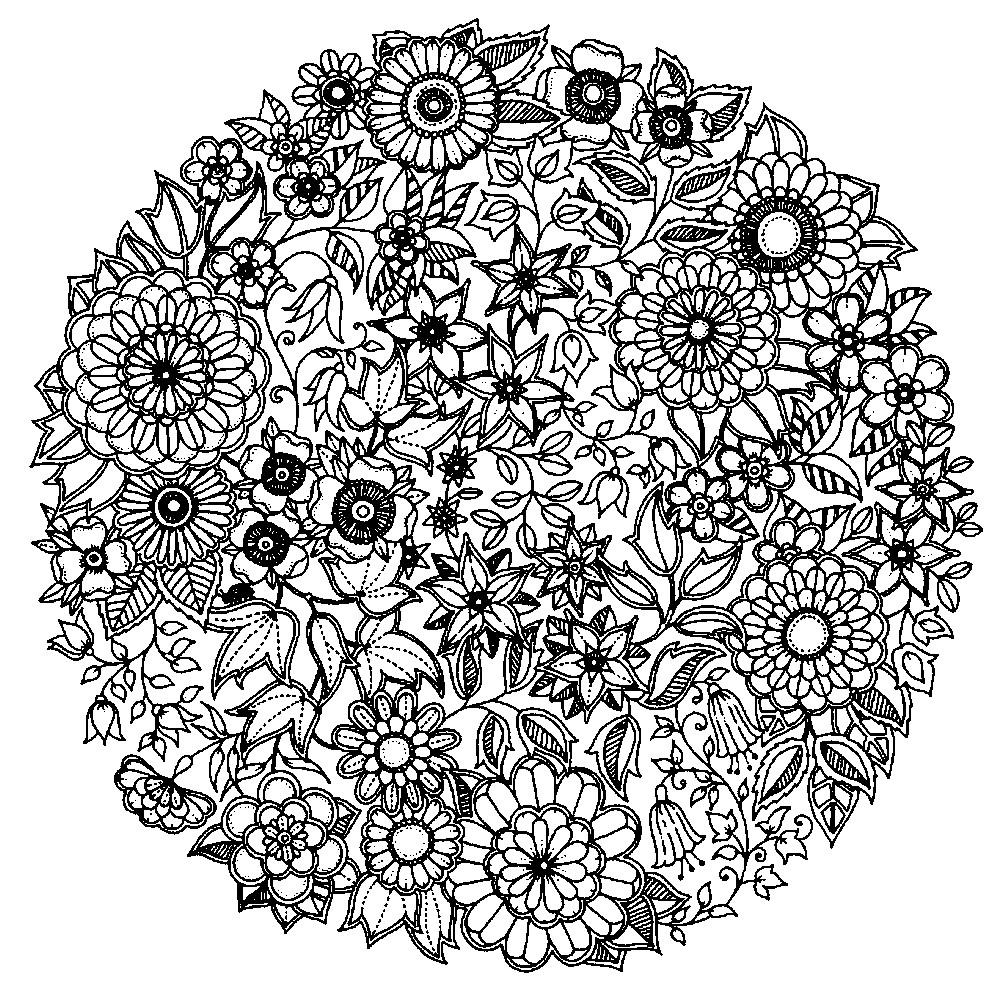 Раскраска мандала из мелких цветов