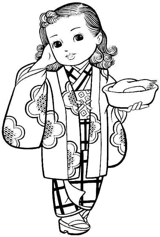 Раскраска Японская мода