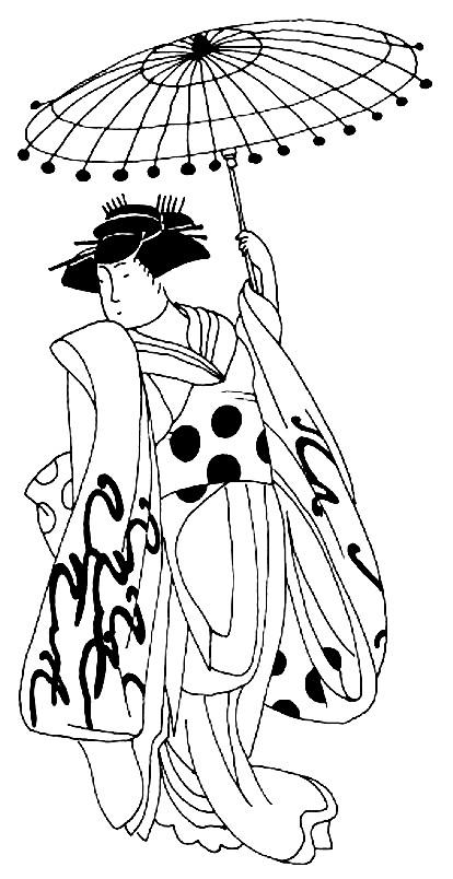 Раскраска человек с Японским зонтиком