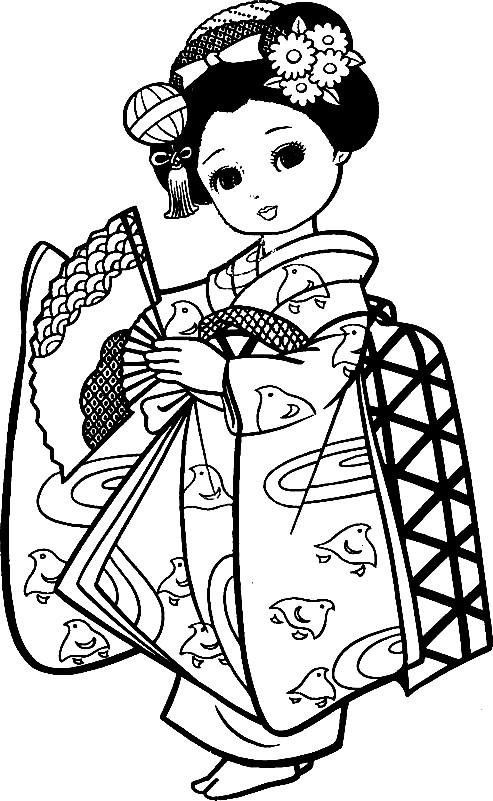 Раскраска девочка в кимоно
