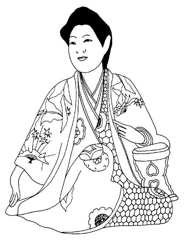 Раскраска красивое кимоно