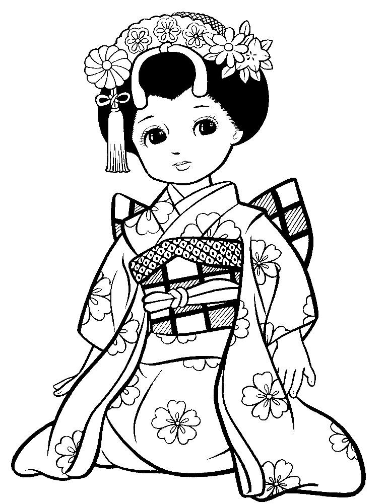 Раскраска Японская женщина в кимоно