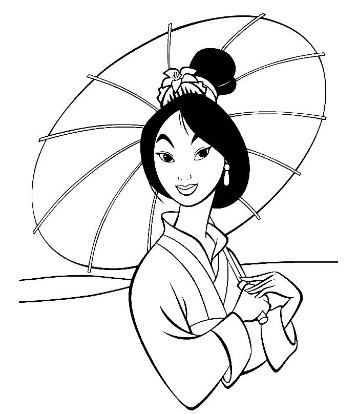 Раскраска принцесса Мулан