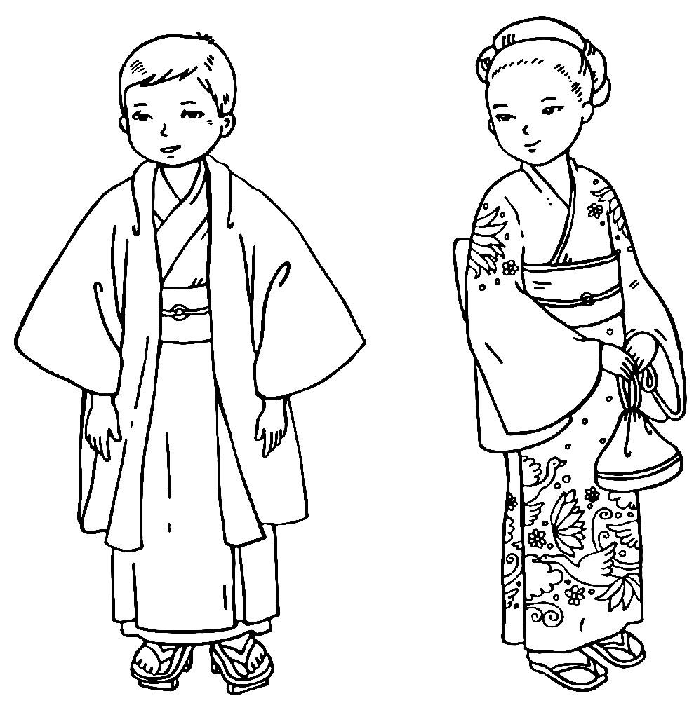 Раскраска национальные Японские костюмы