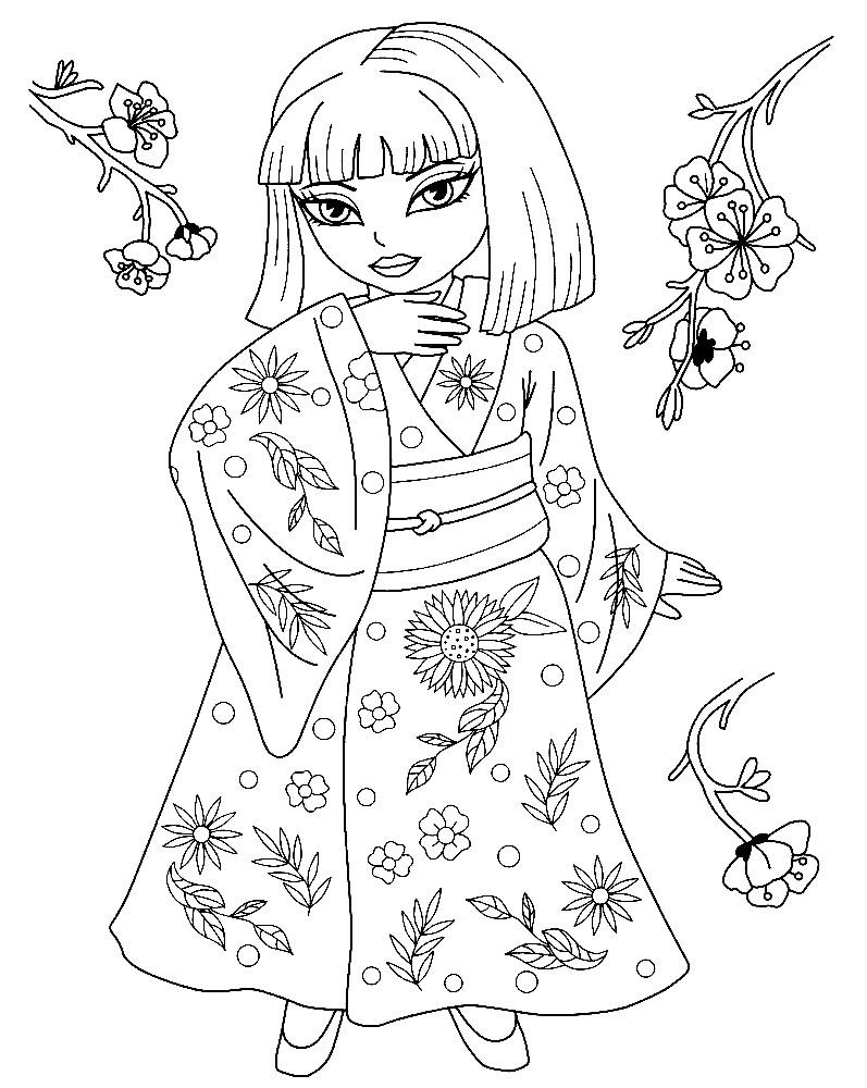 Раскраска девочка в Японской одежде