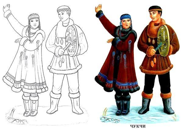 Раскраска Чукотская национальная одежда
