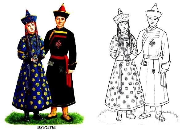 Раскраска Бурятский национальный костюм