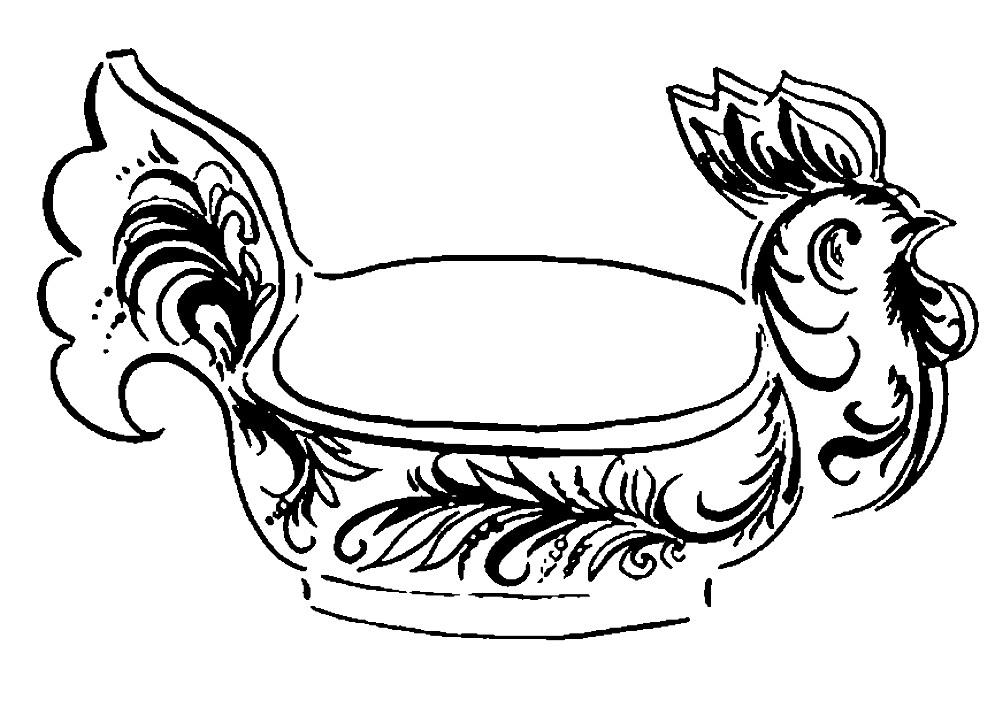 Раскраска посуда золотая Хохлома