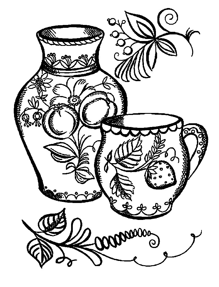 Раскраска кувшин и чашка под Хохлому