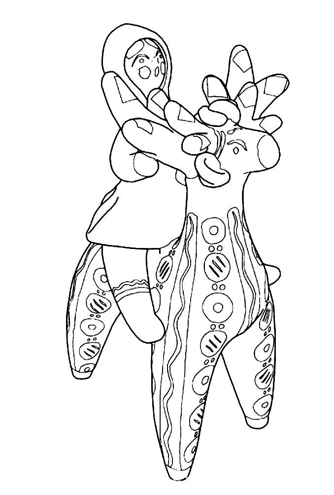 Раскраска Дымковская игрушка человек на олене