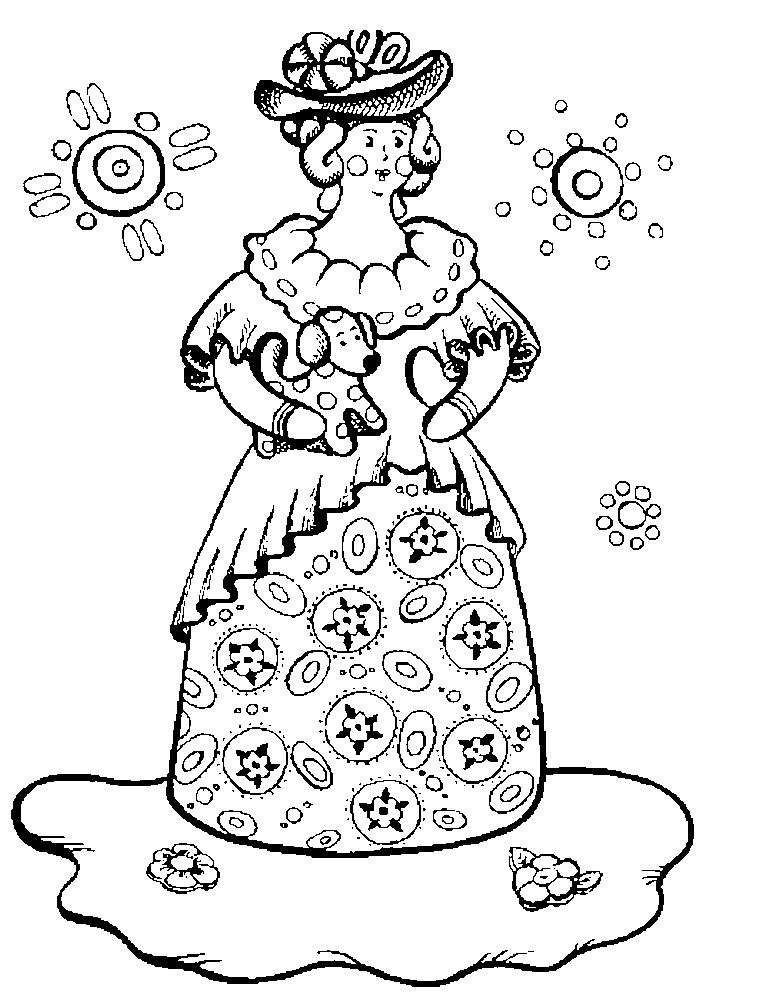 Раскраска Дымковская игрушка барышня | Раскраски для детей ...