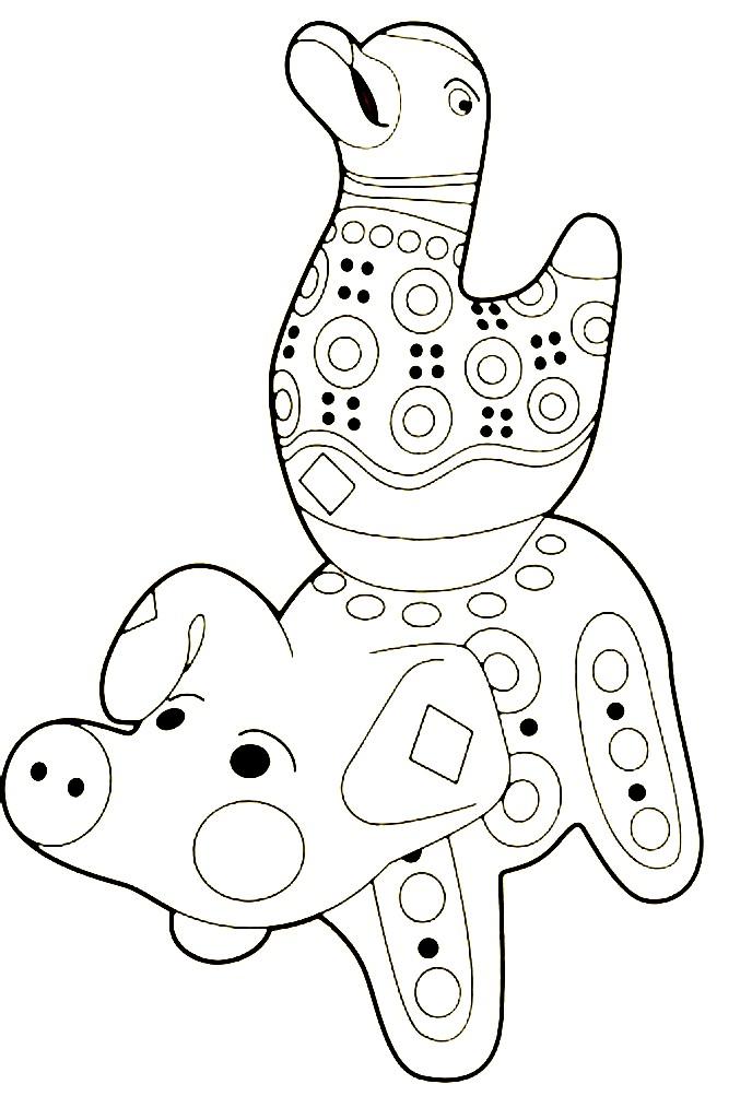 Раскраска Дымковская игрушка гусь на свинье