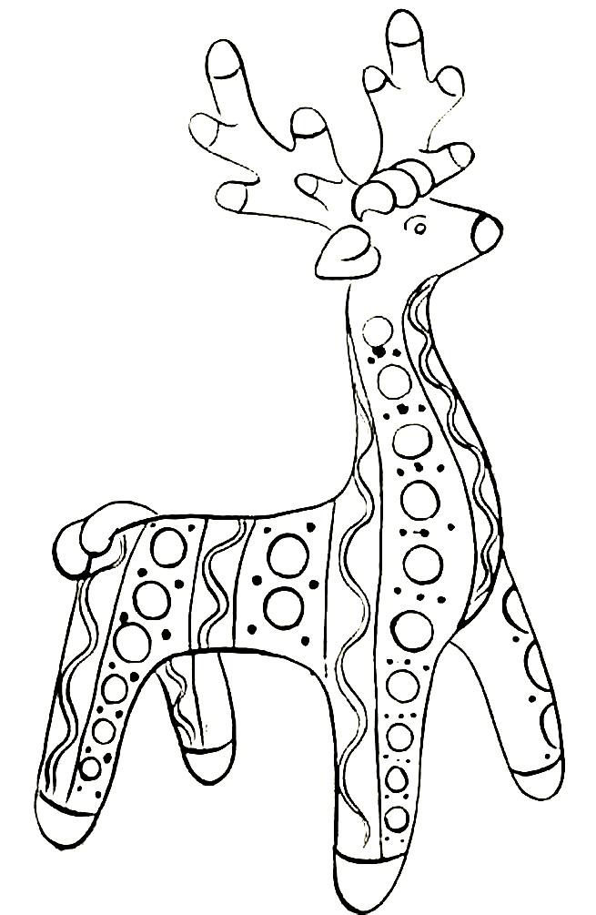 Раскраска Дымковская игрушка олень