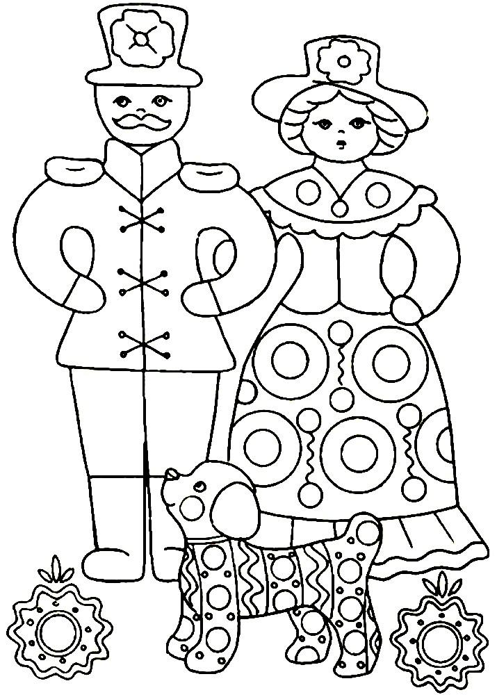 Раскраска Дымковская игрушка барышня и барин