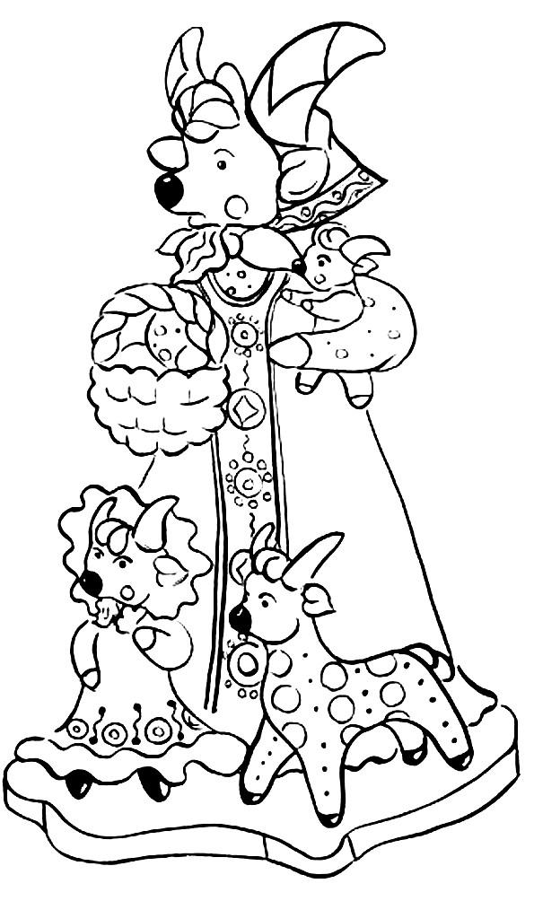 Раскраска Дымковская игрушка коза с козлятами | Раскраски ...