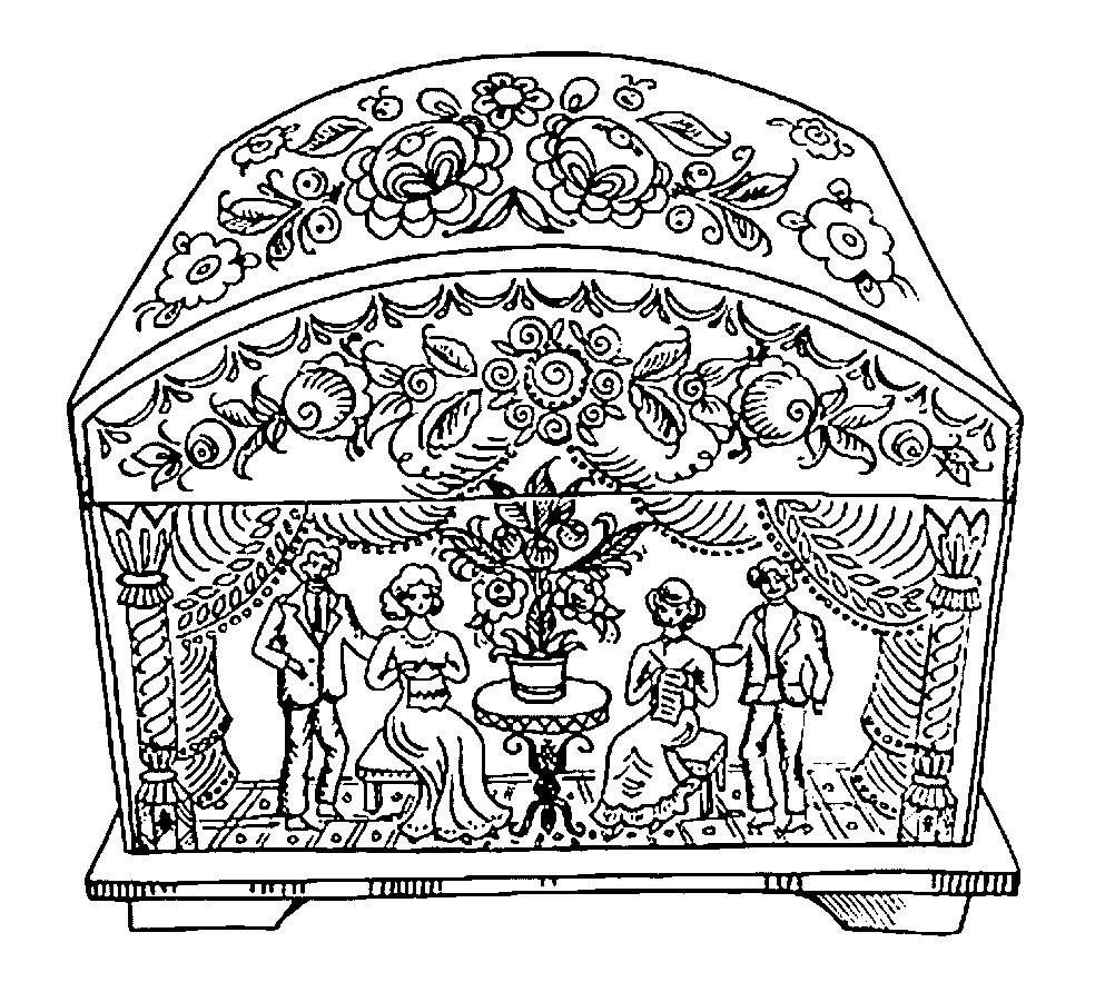 Раскраска шкатулка Городецкая роспись