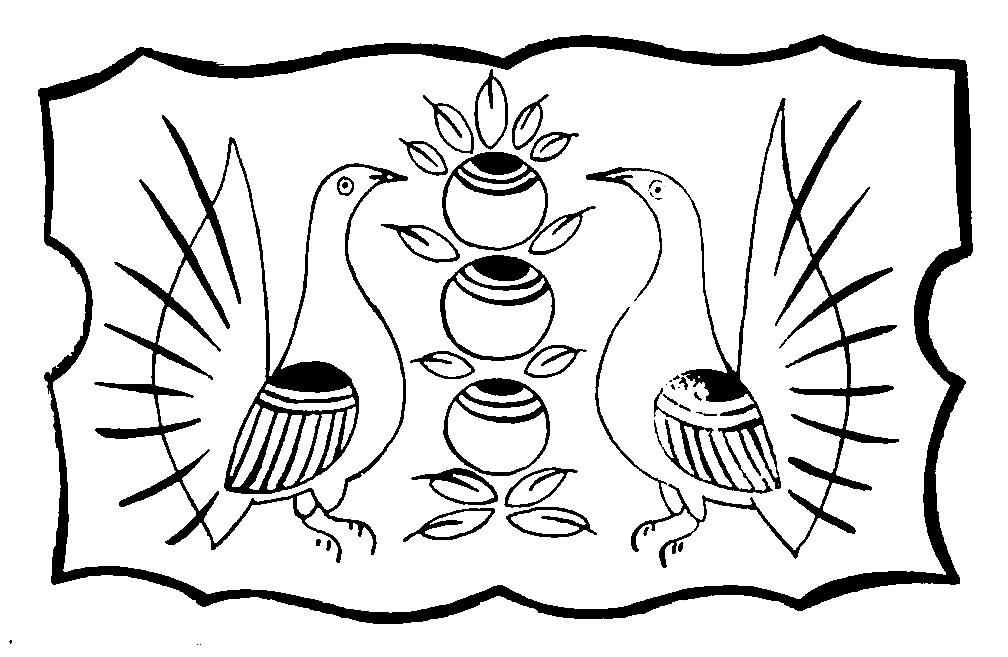Раскраска шаблон Городецкой росписи