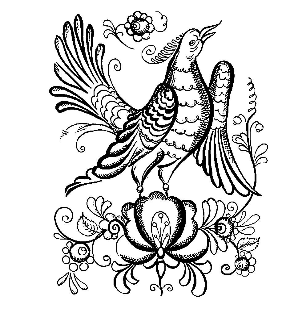 Раскраска Городецкая роспись птица | Раскраски для детей ...