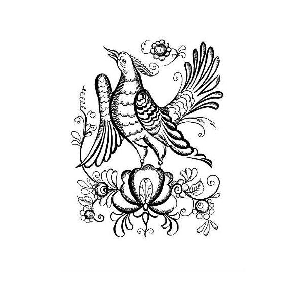 Раскраска Гжель птица