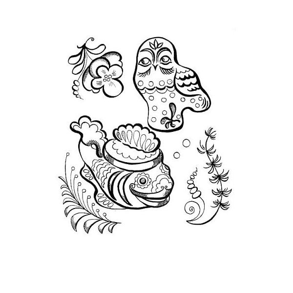 Раскраска рыба и сова Гжель