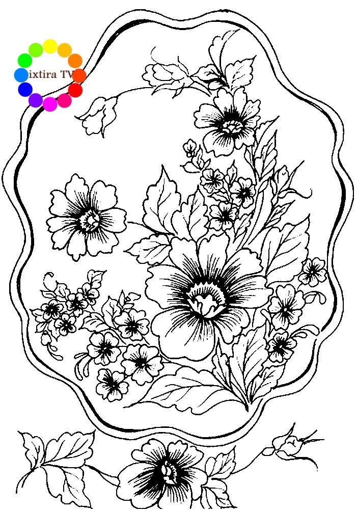 Раскраска Жостовский поднос с крупными цветами