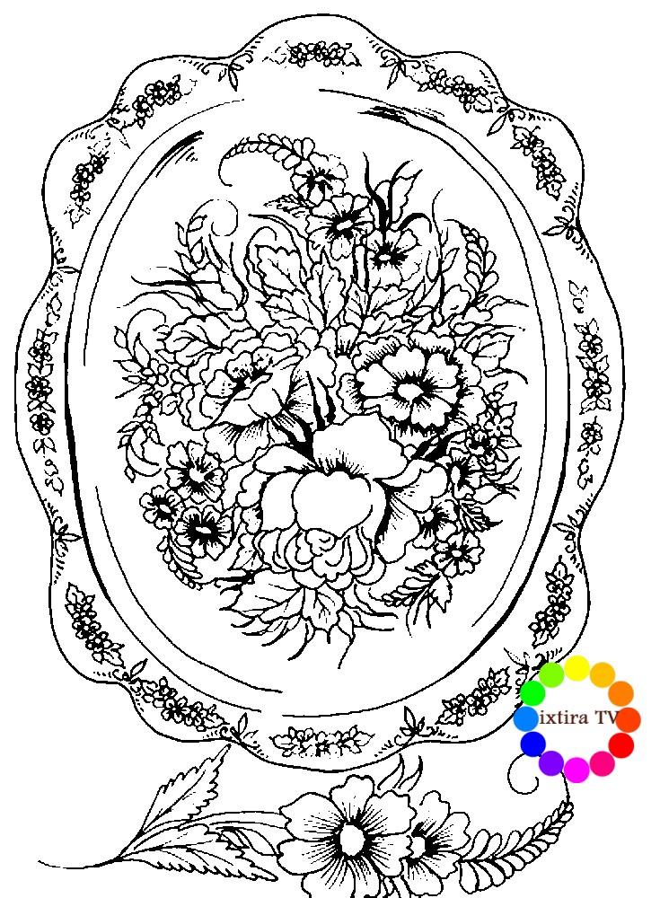 Раскраска Жостовский поднос с маками