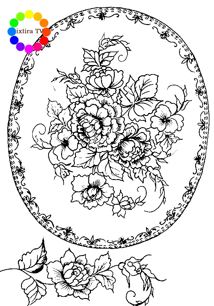 Раскраска Жостовский поднос с узорчатой каймой