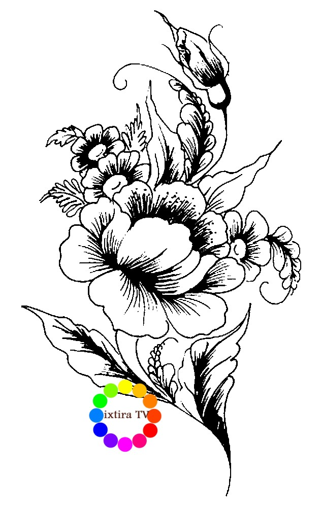 Раскраска цветок Жостово