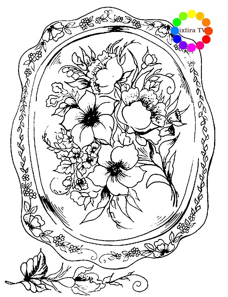 Раскраска красивый Жостовский поднос