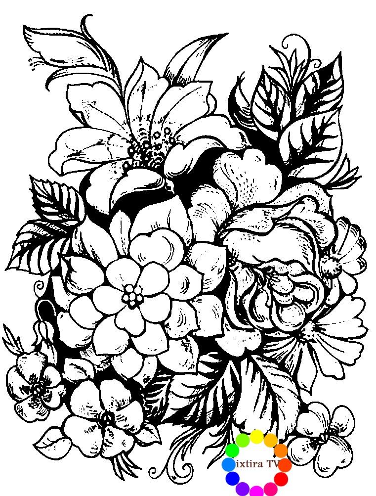 Раскраска элемет Жостовской росписи цветы