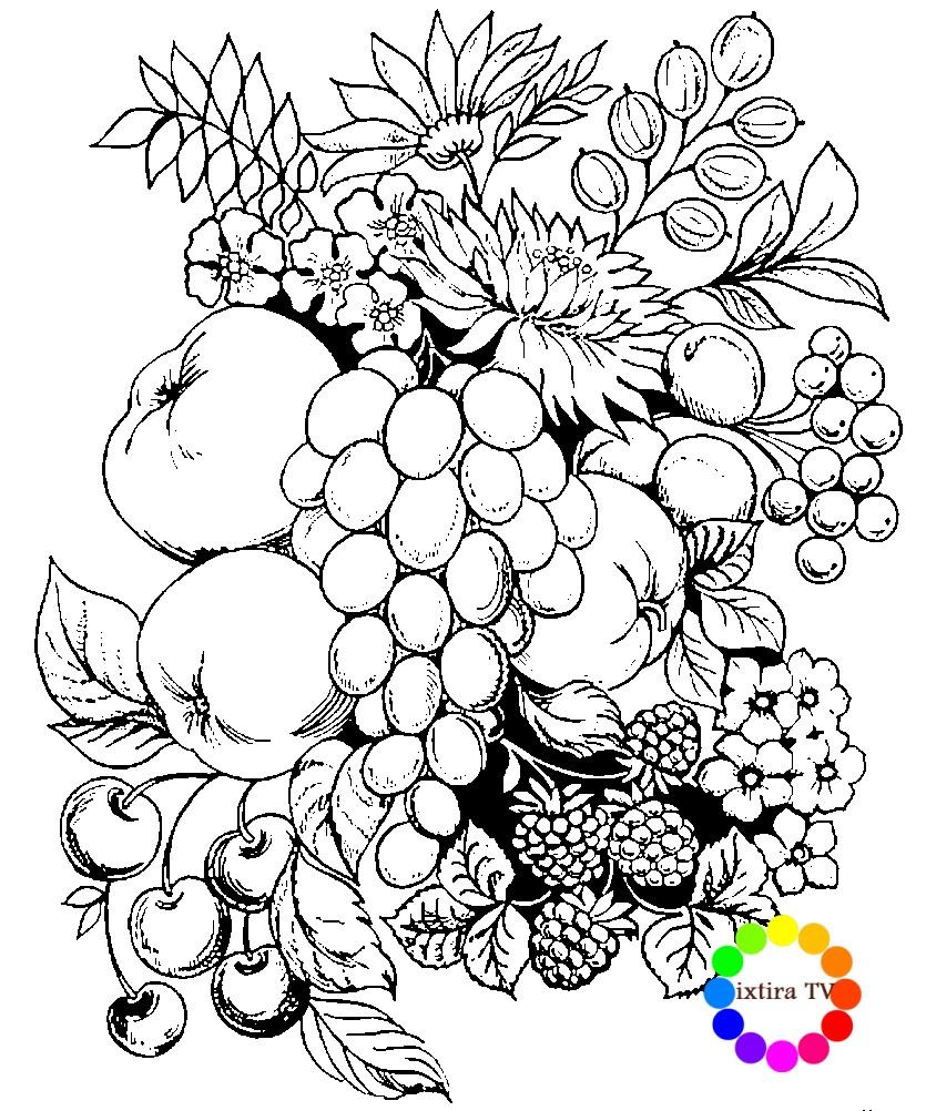 Раскраска элемент Жостовской росписи фрукты