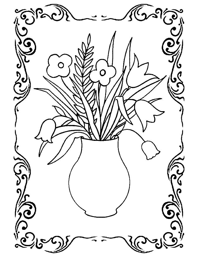 картинки для раскрашивания ваза с листьями ретроспектива