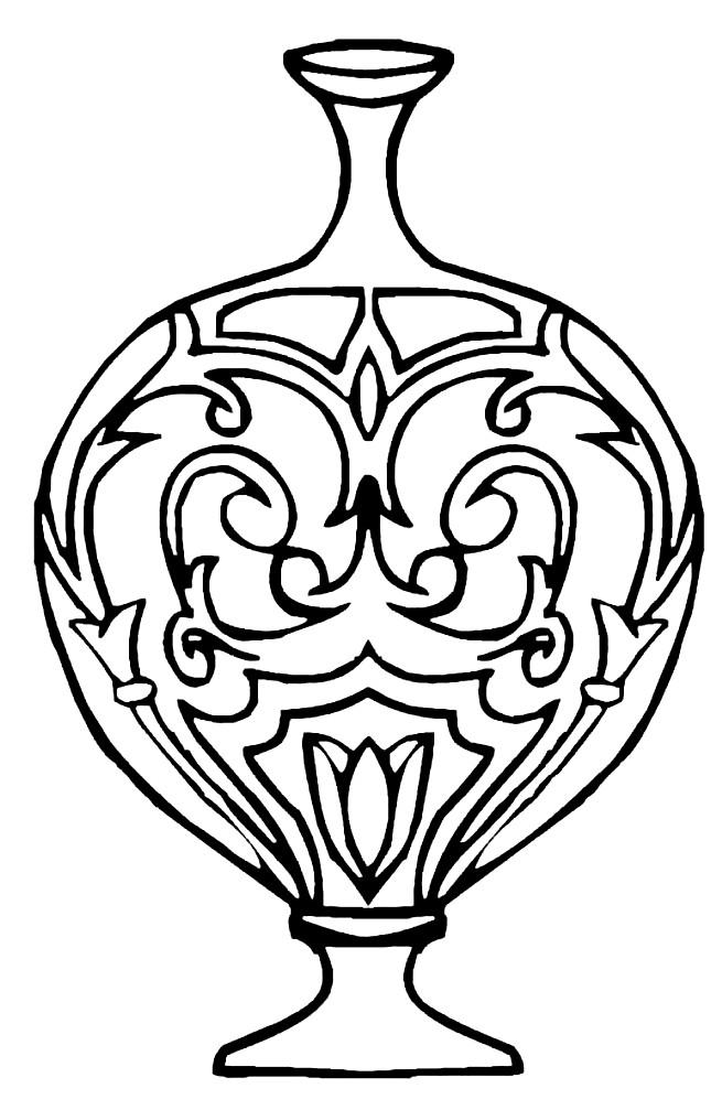 Раскраска ваза с узким горлышком
