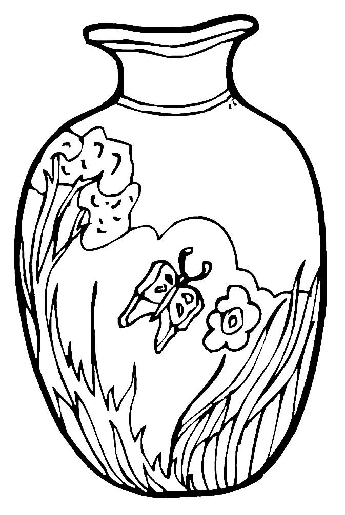 Раскраска Китайская ваза