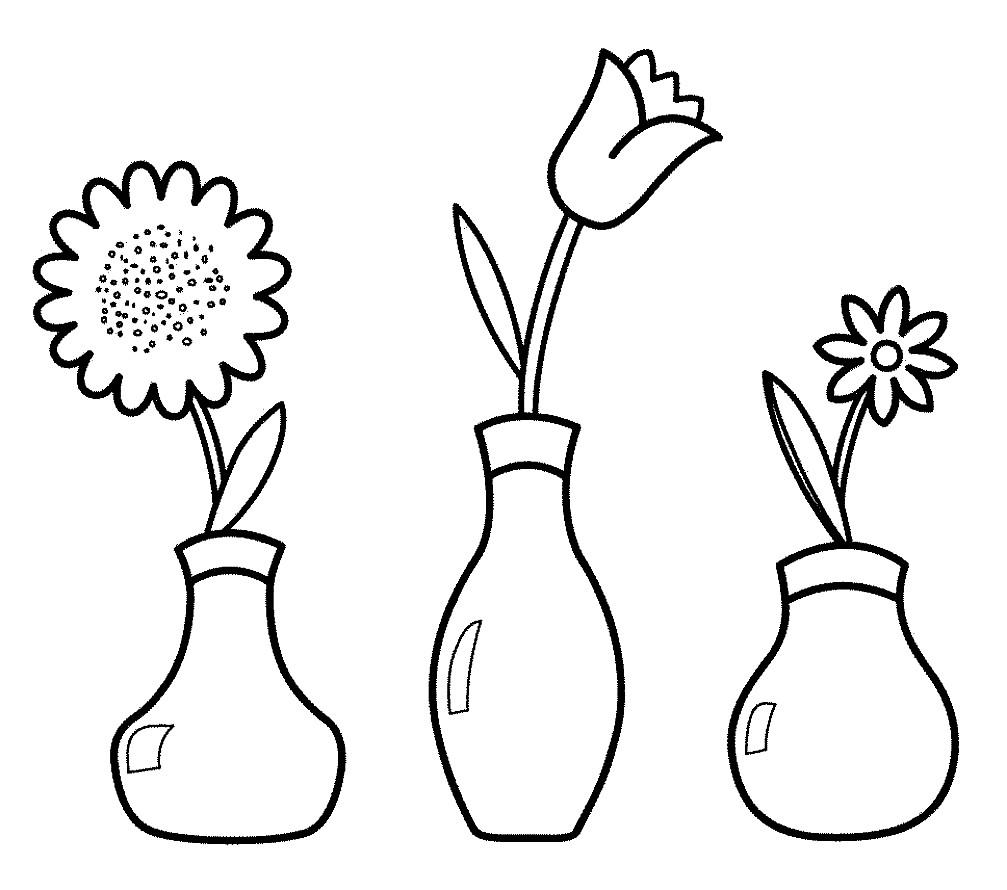 Раскраска вазы трех видов