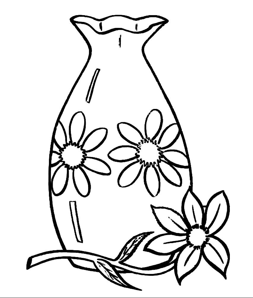 Раскраска стеклянная ваза с цветами