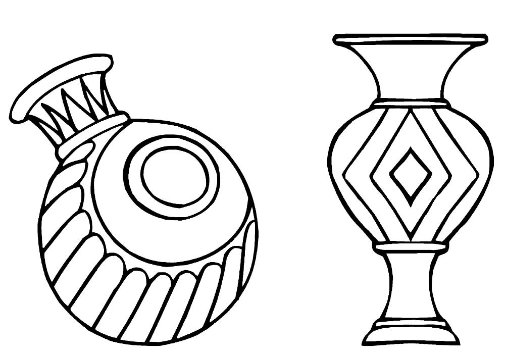 Раскраска вазы с геометрическим рисунком