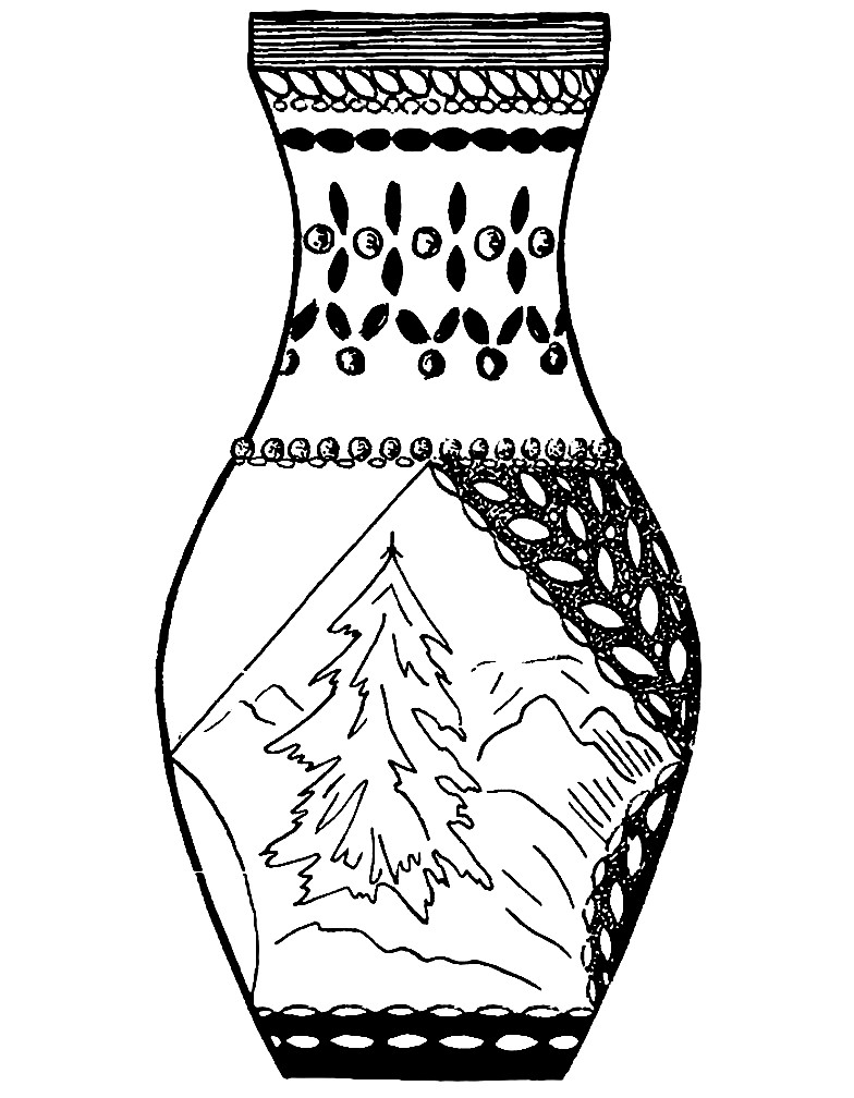 Раскраска ваза с елочкой
