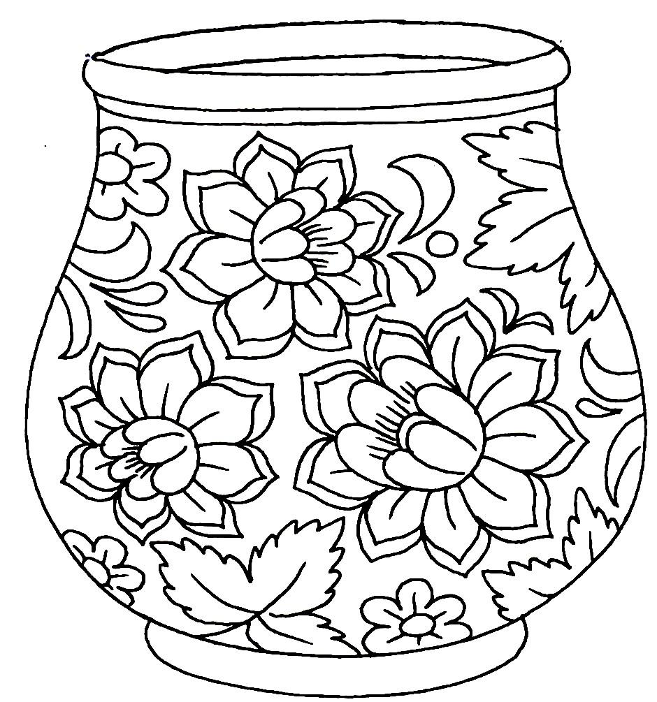 Раскраска ваза золотые ромашки