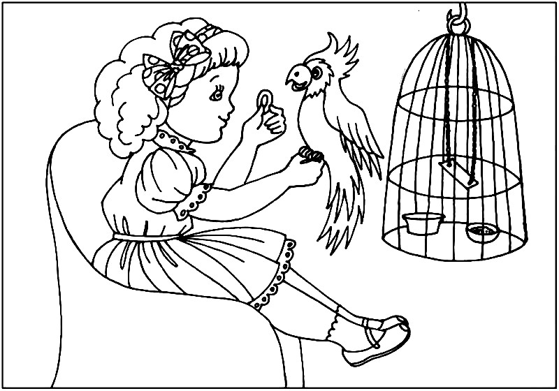 Раскраска попугай и девочка