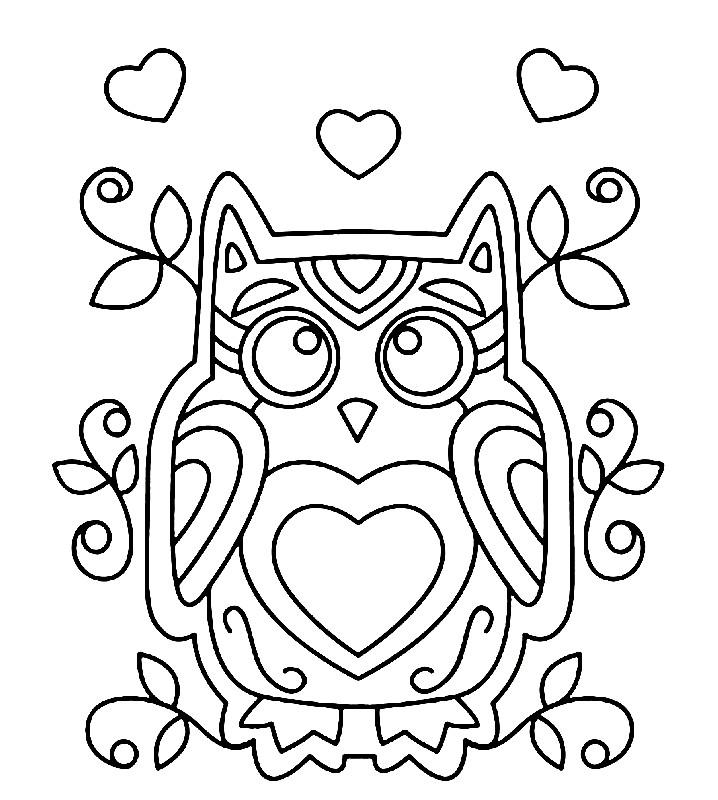 Раскраска орнамент сова