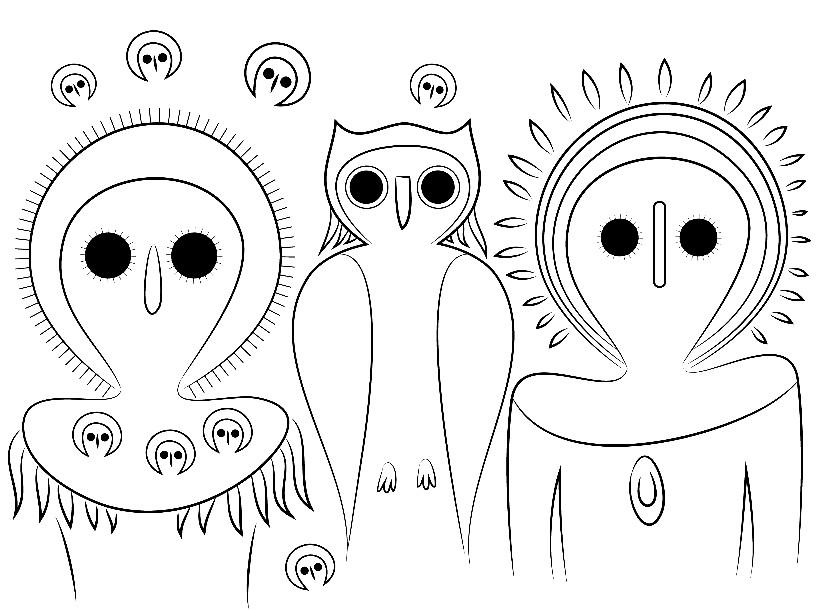 Раскраска инопланетные совы