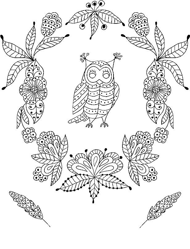 Раскраска сова с цветами