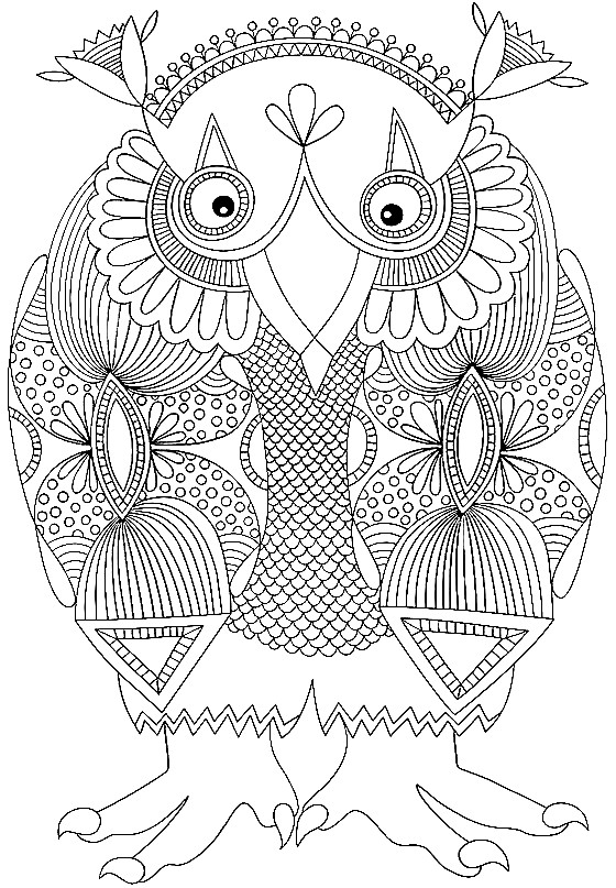 Раскраска сова с красивым узором