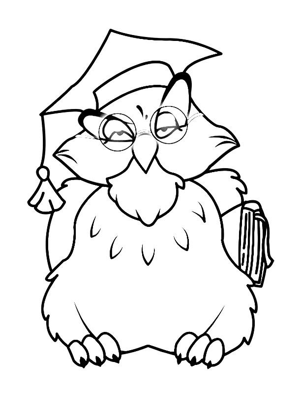 Раскраска мудрая сова | Раскраски для детей распечатать ...
