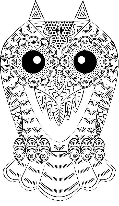 Раскраска сова с узором