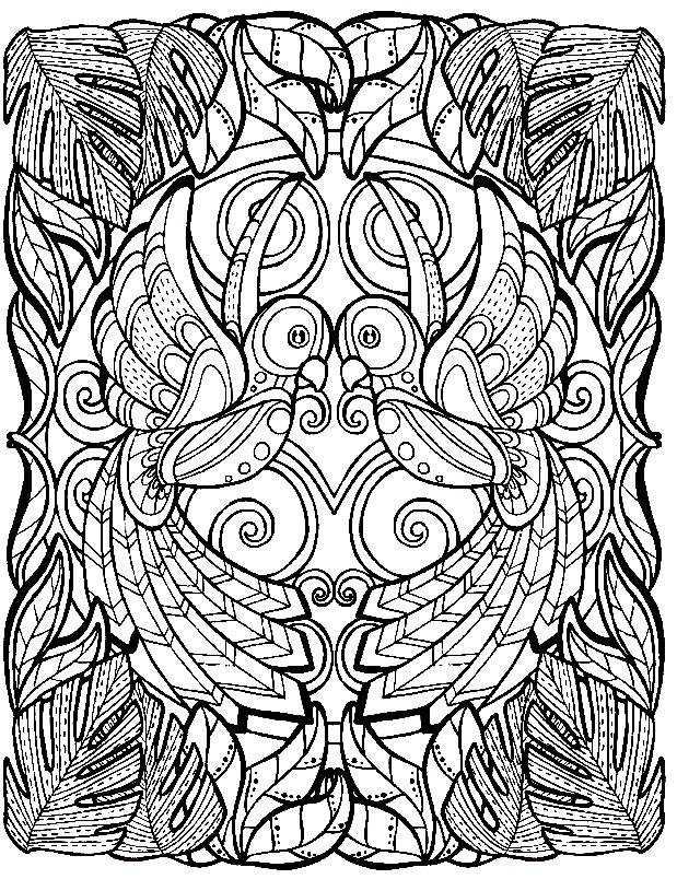 Раскраска узор с попугаями
