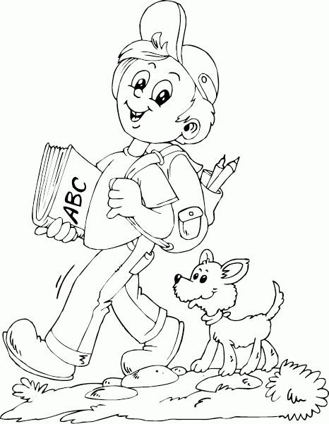 Раскраска прогулка с собакой