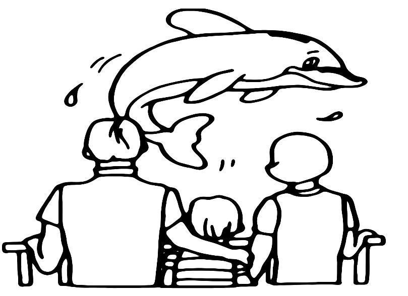 Раскраска выступление дельфина